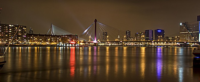 rotterdam skyline by night